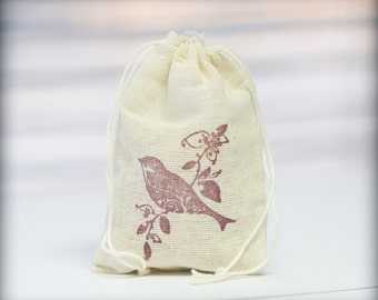 Bird muslin cotton 6 favor bag with stamp gift sack nature party wedding