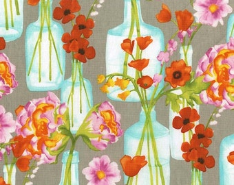 Posey Fabric, Poppy Fabric, Posie Bouquet Fabric - Vignette Collection for Michael Miller CJ 6662 BLOM Pink  - Priced by the 1/2 yard