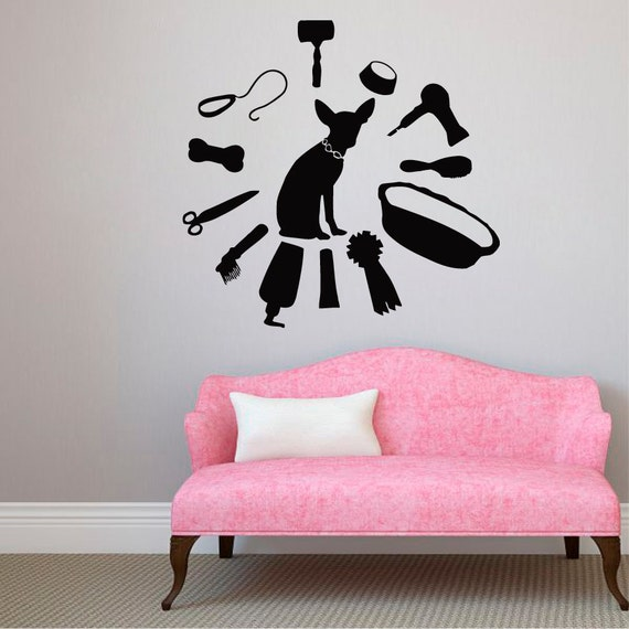 Items similar to puppy wall decals pets accessories pet - Stickers deco salon ...