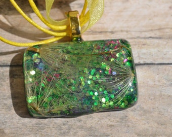 Resin Nature Necklace, Resin Jewelry, Mixed Media, Glitter Necklace, Preserved Jewelry, Fireworks Necklace, OOAK Jewelry, Statement Necklace