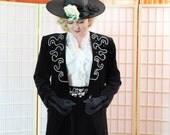 Vintage Rhinestone Cowgirl Black Velveteen Suit . 80's Power Suit . Wide Rhinestone Belt . Midi Length Pencil Skirt . Jo Hardin label