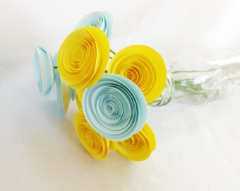 Yellow Paper Flowers - Bright Yellow - Baby Shower Decor -  Centerpiece - Summer Wedding - Blue and Yellow - Wedding Paper Flowers
