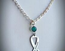 Celiac Disease Awareness Necklace, w/ Swarovski Austrian Crystal, Ribbon Jewelry, Support Cause Charity