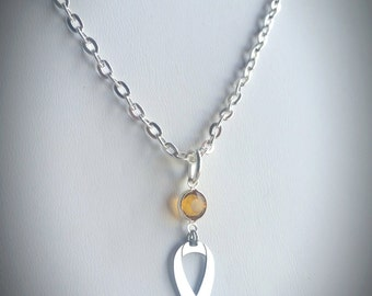 ADHD Awareness Necklace, w/ Swarovski Austrian Crystal, Ribbon Jewelry, Sterling Silver Chain