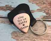 play for me daddy- hand stamped -Father's Day - Copper Guitar Pick - Gifts for Him -  Music Lover - HarperLeeJewelry- HLJ