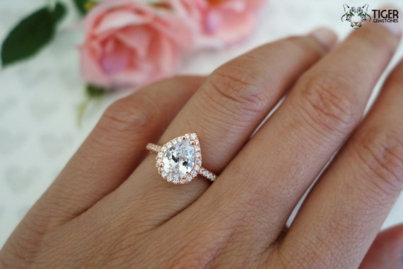 1 5 Ctw Pear Halo Ring Engagement Ring Man Made Diamond