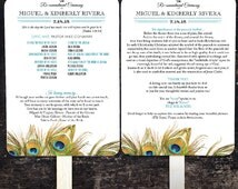 Reserved for Amber, 125 double sided Peacock Themed Wedding Programs
