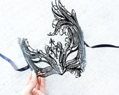 Masquerade Mask, Masquerade Ball Mask, Beautiful Black Venetian Laser Cut Masquerade Mask with Diamond Inspired Rhinestones