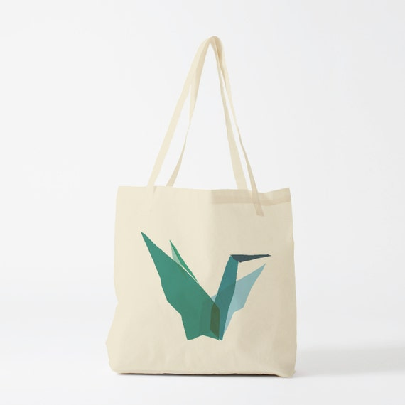 Tote Bag Mint Origami, canvas bag, groceries bag, school bag, novelty gift, gift women, Mother's Day gift, reusable fabric tote.