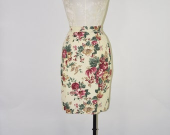 roses print skirt / floral pencil skirt / fitted rayon skirt
