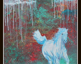 Giclee PRINT 8x10 Abstract White Horse Original Painting Acrylic Rain Cloud Animal Detail Art Nature Wildlife Contemporary Wall Art to Hang