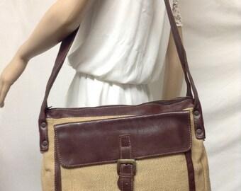 Large Leather Canvas purse,bag, Satchel,Travel bag,Shoulder Bag