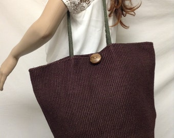 Large Woven Tote,tote bag, Brown, green Straps,purse bag