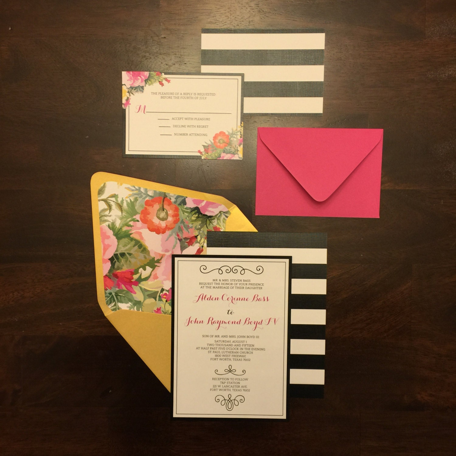 5x7 Modern Pink and Gold Floral Wedding Invitation with Black ...