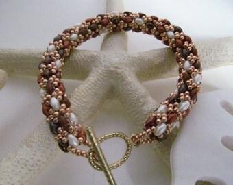 Beaded rope bracelet , Tri color golds rope bracelet , superduo beaded rope bracelet , Browns rope bracelet ,