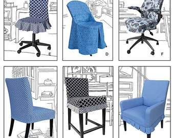 Simplicity 1335 Chair Covers for Ikea® and Realspace® Chairs. One size. New and uncut.