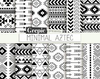 "Aztec digital paper: ""MINIMAL AZTEC"" aztec patterns, tribal backgrounds, geometric, black white, digital, triangles, minimal, lines, simple"