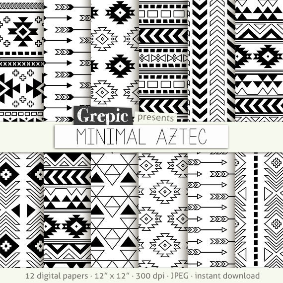 "8112c345c944d Aztec digital paper: ""MINIMAL AZTEC"" aztec patterns, tribal backgrounds,  geometric, black white, digital, triangles, minimal, lines, simple"
