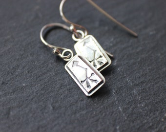 sterling silver arrow earrings - metalsmith artisan jewelry - stamped silver crooked arrow metalwork - simple everyday earrings
