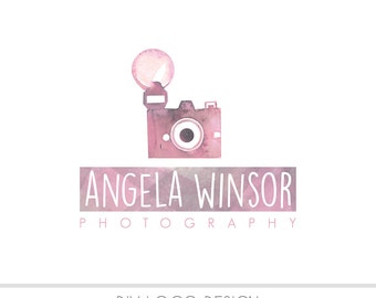 CLEARANCE - Watercolor DIY Logo, Pastel, photography, watermark, painted, Newborn logo, maternity logo, Watercolor Camera, Vintage