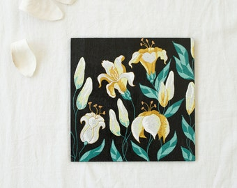 Wall hanging decor - Wood panel Lilies - Painted flowers - Point-to-point - Wall art