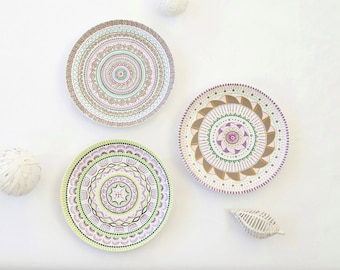 Plate set - Hand painted plates - Decorative plates - Wall hangings - Wall plates