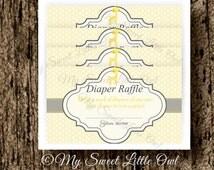 Yellow diaper raffle - jiraffe baby shower - yellow chevron diaper raffle - diaper raffle card - jiraffe baby shower game - jiraffe card