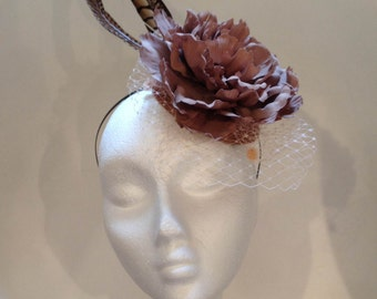 Pheasant Feathers and Flower Headpiece, Feathers Diadem, Flower Headpiece, Wedding Headdress, Party Hat, Wedding Hat, More Colors