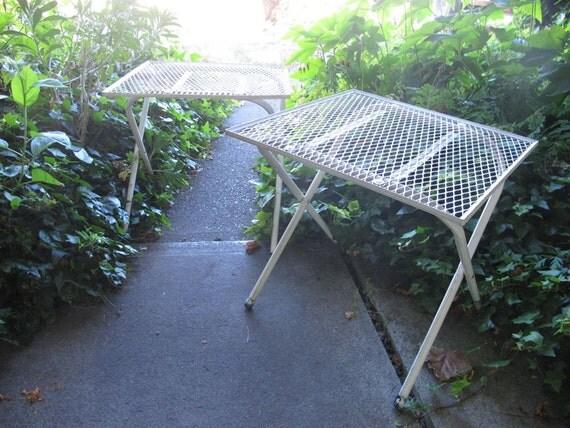 White Metal Garden Side Table: Set Of 2 White Metal Garden Tables Mid Century Modern Metal
