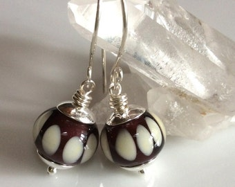 Brown and Ivory Earrings   Brown Glass Earrings    Lampwork Glass Earrings    Sterling Silver Earrings