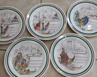 FIVE (5) Vintage PV (Parry Vieille) Plates French Opera Series