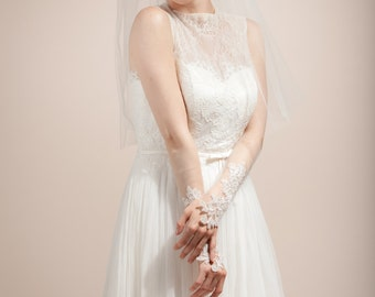 Wedding gloves, bridal gloves, lace bridal cuffs, embroidered lace fingerless gloves -- Style 361