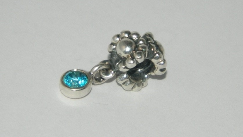 authentic pandora charm blue topaz dangle by