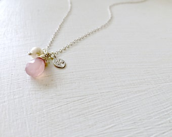 Personalized Rose quartz Necklace hand stamped leafs Initial Pearl 925 Sterling Silver Monogram Initial Monogram Jewelry rose quartz jewelry
