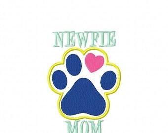 Newfie MOM Paw Print - Newfoundland Applique - DIGITAL Embroidery Design