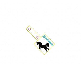 MUSTANG -  HORSE  In The Hoop - Snap/Rivet Key Fob - DIGITAL Embroidery Design