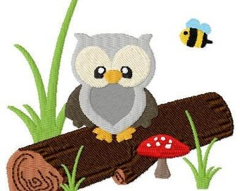 Embroidery Design Owl sitting on a trunk 4'x4' - DIGITAL DOWNLOAD PRODUCT