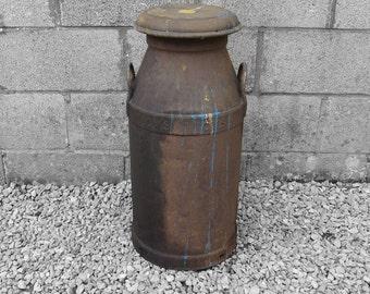Antique Large Steel Metal Industrial Milk Churn - Great Garden Wedding Dispaly Item