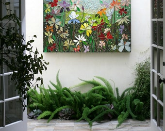MOSAIC WALL ART Stained Glass Wall Decor Floral Garden Indoor Outdoor Patio  Art Wall Hanging Made