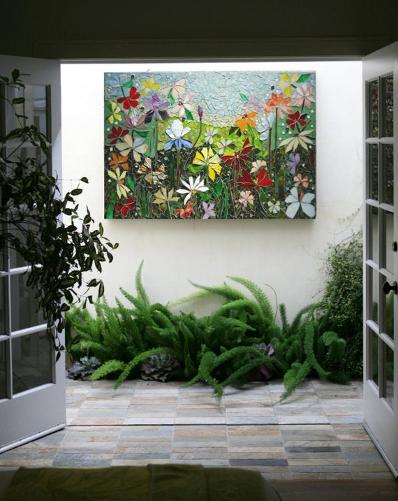Mosaic wall art stained glass wall decor floral garden indoor for Outdoor garden wall decor