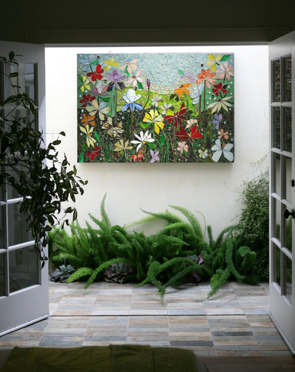 Mosaic wall art stained glass wall decor floral garden indoor for Outside wall art