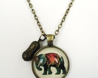 Circus Elephant Necklace, Vintage Circus Elephant, Elephant Necklace, Circus Elephant Necklace, Peanut Necklace, Handmade, Gift For Her