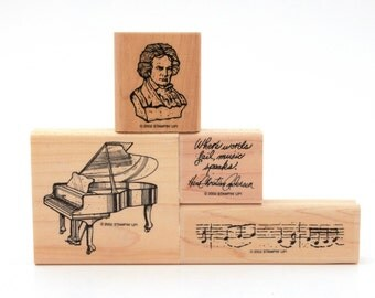 Concerto Rubber Stamp Set, Grand Piano Stamp, Classical Music Stamp Bust Mozart, Sculpture Beethoven Stamp Composer Classical, Stampin' Up