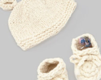 hand knit hat with crochet booties infant gift set