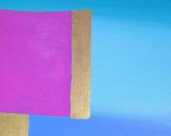 "Abstract Painting Original Acrylic Modern Art, Cobalt Blue, Pink, Gold, 11"" x 14"" Contemporary Home Decor"