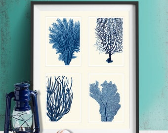 Blue Coral Print on 4 Panels, Nautical print beach house decor wall art wall decor art print Nautical Decor bathroom coral picture