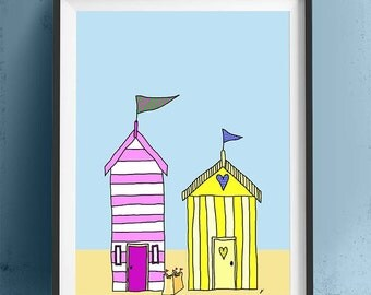 Beach hut art  Beach Huts 3 - beach hut print Nautical Nursery Decor art for kids room Beach Nursery Décor Nautical kids room navy wife gift