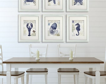 Coral print set 4 red coral art prints nautical print coral for French beach decor