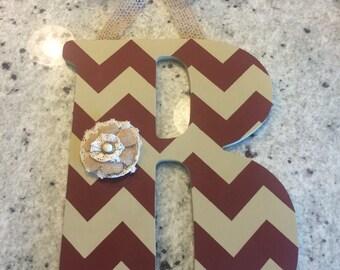 Handpainted Letter B in Maroon & Khaki