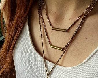 Geometrical Layer Necklace, Boho Chic, Black Stone Necklace, Brass Aztec Jewelry, Festival Jewelry